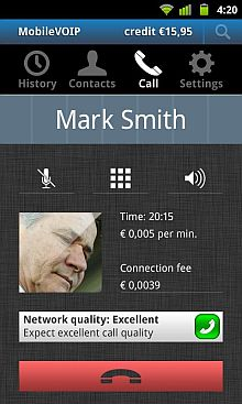 Android App: Con MobileVOIP Telefoni gratis via Internet