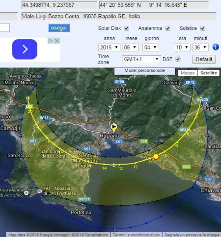Calcolatore di Soleggiamento: Grafici Traiettorie e Posizioni Sole