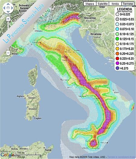 Mappa interattiva con pericolosità Rischio Sismico in Italia