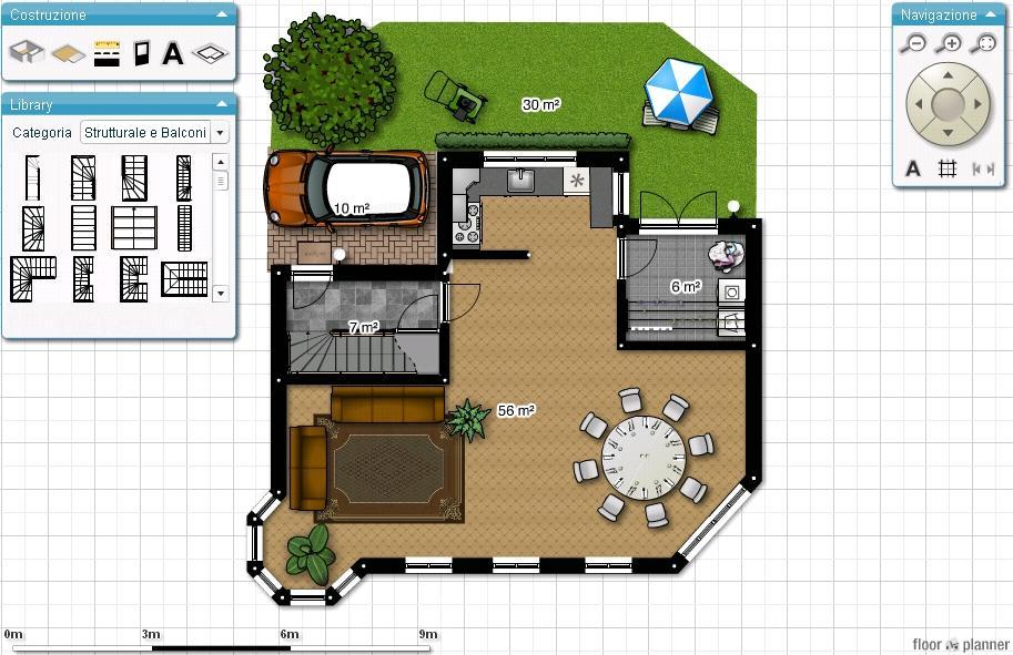 Progetta e arreda interni sul pc con planimetrie interattive for Planimetrie della casa senza garage