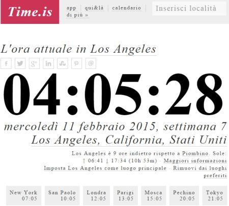 Verifica orario locale nel mondo e precisione orologio PC